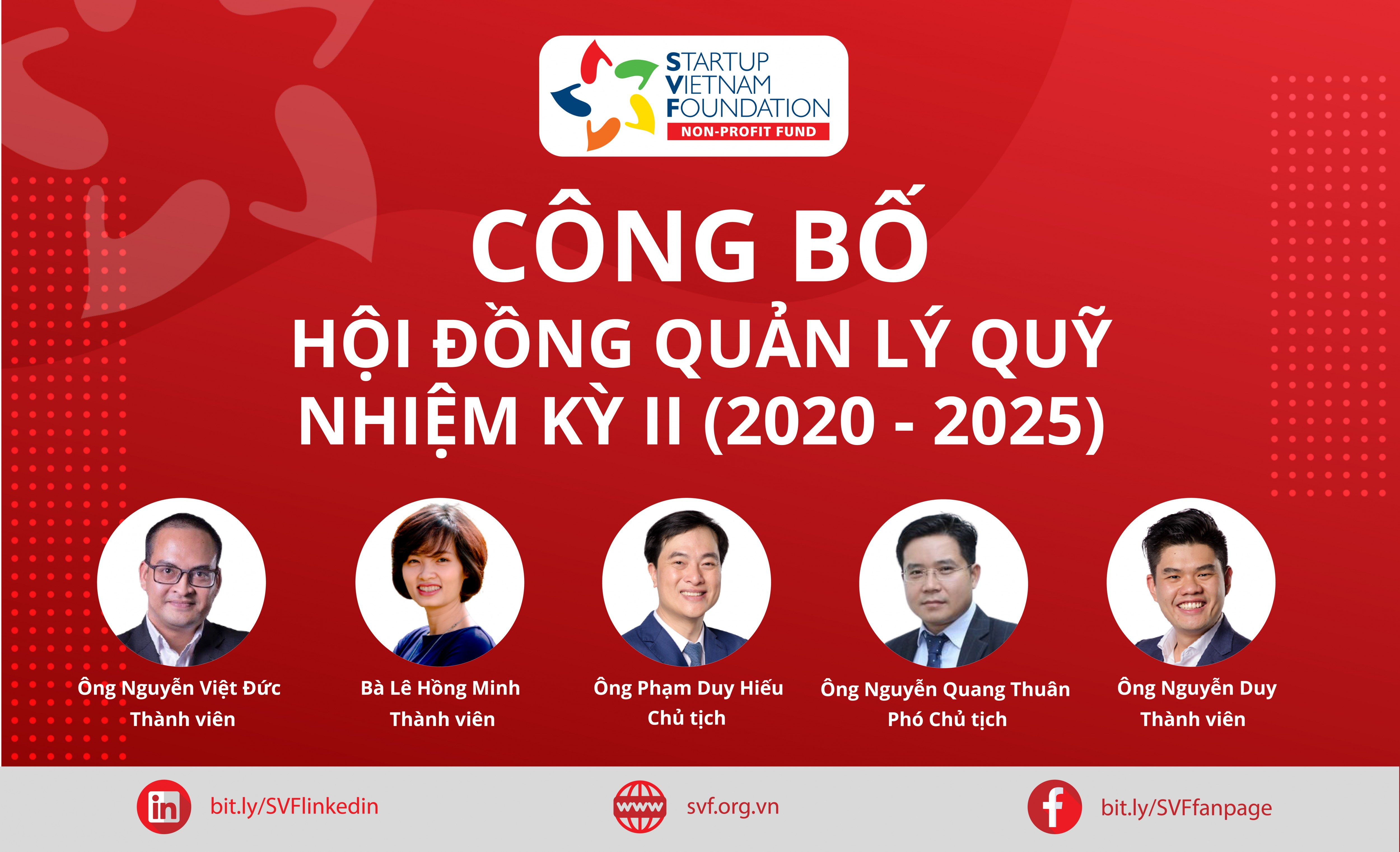 CÔNG BỐ HỘI ĐỒNG QUẢN LÝ QUỸ NHIỆM KỲ 2020-2025 VÀ BỔ NHIỆM GIÁM ĐỐC VẬN HÀNH STARTUP VIETNAM FOUNDATION